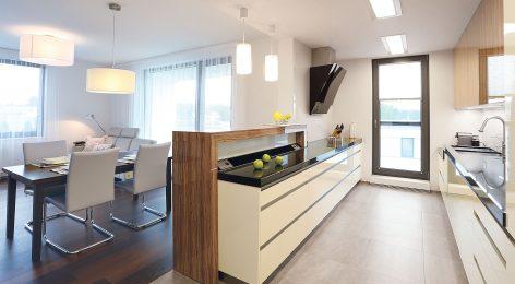 двухрядная кухня в светлом цвете